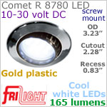 12 volt LED Lights (10-30vdc) - Comet R 8780, Recess mount adjustable ceiling light, GOLD colored plastic with 165 lumens COOL White LED Bulb