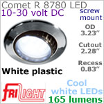 12 volt LED Lights (10-30vdc) - Comet R 8780, Recess mount adjustable ceiling light, WHITE plastic with 165 lumens COOL White LED Bulb