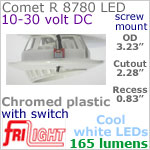 12 volt LED Lights (10-30vdc) - Comet R 8780, Recess mount adjustable ceiling light, with Switch, CHROME colored plastic with 165 lumens COOL White LED Bulb