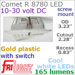 12 volt LED Lights (10-30vdc) - Comet R 8780, Recess mount adjustable ceiling light, with Switch, GOLD colored plastic with 165 lumens COOL White LED Bulb