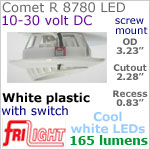 12 volt LED Lights (10-30vdc) - Comet R 8780, Recess mount adjustable ceiling light, with Switch, WHITE plastic with 165 lumens COOL White LED Bulb
