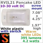 12 volt LED Ceiling Lights (10-30vdc) - RViL21 RV Pancake Interior Dome LED Light with rocker Switch, with 395 lumens WARM White LED Bulb