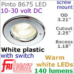 12 volt LED Lights (10-30vdc) - Pinto 8675 with switch, Recess mount, WHITE plastic with 140 lumens WARM White LED Bulb