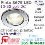 12 volt LED Lights (10-30vdc) - Pinto 8675 with switch, Recess mount ceiling light, CHROME colored plastic with 165 lumens COOL White LED Bulb