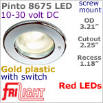 12 volt LED Lights (10-30vdc) - Pinto 8675 with switch, Recess mount ceiling light, GOLD colored plastic with RED LED Bulb