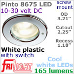 12 volt LED Lights (10-30vdc) - Pinto 8675 with switch, Recess mount ceiling light, WHITE with 165 lumens COOL White LED Bulb