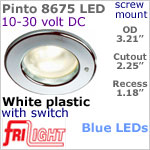12 volt LED Lights (10-30vdc) - Pinto 8675 with switch, Recess mount ceiling light, WHITE with BLUE LED Bulb