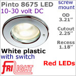 12 volt LED Lights (10-30vdc) - Pinto 8675 with switch, Recess mount ceiling light, WHITE with RED LED Bulb