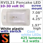 12 volt LED Ceiling Lights (10-30vdc) - RViL21 RV Pancake Interior Dome LED Light with rocker Switch, with 425 lumens COOL White LED Bulb