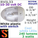 12 volt LED Ceiling Lights (10-30vdc) - RViL33 RV Pancake Interior LED Light with rocker Switch, with 240 lumens COOL White LED Bulb
