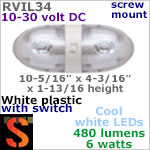 12 volt LED Ceiling Lights (10-30vdc) - RViL34 RV Pancake Interior Double LED Light with rocker Switch, with 480 lumens (2x240) Cool White LED Bulbs