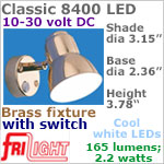 12 volt LED Reading Lights (10-30vdc) - Classic 8400, BRASS with Switch, with 165 lumens COOL White LED Bulb