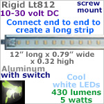 12 volt LED Lights Strip (10-30vdc) - Rigid Lt812, 12 inches long, with 430 lumens COOL white LEDs (42 smd), 5w