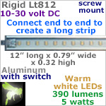 12 volt LED Lights Strip (10-30vdc) - Rigid Lt812, 12 inches long, with 390 lumens WARM white LEDs (42 smd), 5w