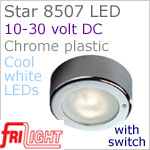 12 volt LED Ceiling Lights (10-30vdc) - Star 8507, surface mount ceiling light with Toggle Switch, CHROME colored plastic with 165 lumens COOL White LED Bulb