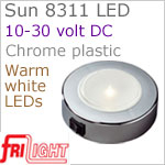 12 volt LED Ceiling Lights (10-30vdc) - Sun 8311, Surface mount with Switch, CHROME colored plastic with 197 lumens WARM White LED Bulb