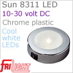 12 volt LED Ceiling Lights (10-30vdc) - Sun 8311, Surface mount with Switch, CHROME colored plastic with 240 lumens COOL White LED Bulb
