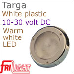 12 volt LED Courtesy Lights (10-30vdc) - Targa 8990, Recess mount, WHITE plastic, with 140 lumens WARM White LED Bulb, IP64 Water Resistant