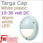 12 volt LED Courtesy Lights (10-30vdc) - Targa Cap 8991, Recess mount, WHITE plastic with 140 lumens WARM White LED Bulb, IP64 Water Resistant