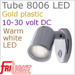12 volt LED Reading Lights (10-30vdc) - Tube 8006 with Switch, GOLD colored plastic with 140 lumens WARM White LED Bulb