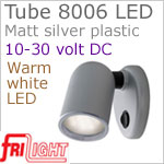 12 volt LED Reading Lights (10-30vdc) - Tube 8006 with Switch, MATT SILVER colored plastic with 140 lumens WARM White LED Bulb