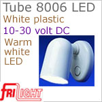 12 volt LED Reading Lights (10-30vdc) - Tube 8006 with Switch, WHITE plastic with 140 lumens WARM White LED Bulb