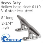 Heavy Duty Hollow Base Boat Cleat 6110, 316 Stainless steel, 8""