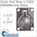 Flush Pull Ring s-3360 (open ring), CHROME (over brass)