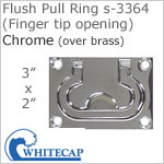 Flush Pull Ring s-3364 (Finger tip opening), CHROME (over brass)