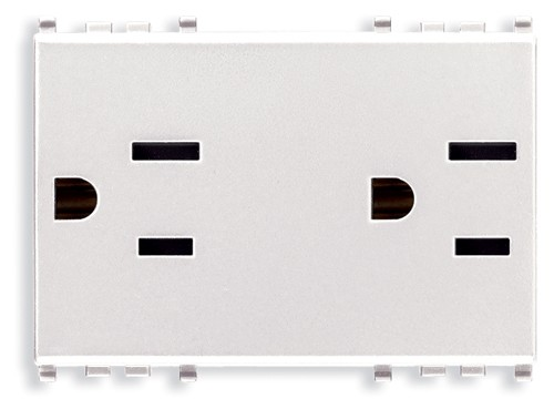 Eikon Outlet, USA-Arabian, Duplex, 2P+E, 15A-127V, 3 Modules, SICURY, White, Vimar