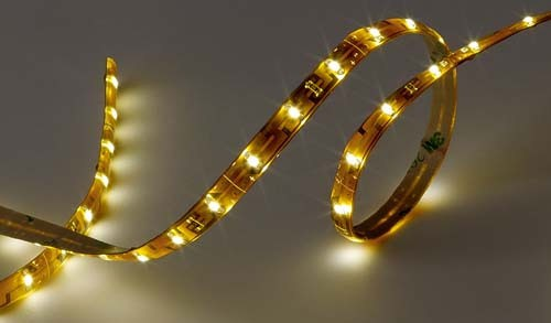 12 volt LED Tape Strip - Flexible Light Strip, Warm White LEDs, 16 foot length, with 5 inch wire leads