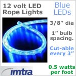 12 Volt LED Rope Lights, Blue LEDs