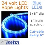 24 Volt LED Rope Lights, Blue LEDs