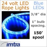 SPOOL OF 150 FEET of 24 Volt LED Rope Lights, Blue LEDs