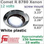 12 volt Ceiling Lights - Comet R 8780 Adjustable Recess Ceiling Light, WHITE Bezel with 10 Watt XENON Bulb