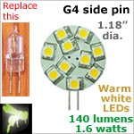 12 volt LED Bulbs (10-30 vdc), G4 side pins, WARM white, 140 lumens