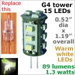 12 volt LED Bulbs (10-30vdc), G4 Tower, WARM white, 89 lumens
