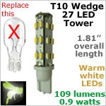 12 volt LED Bulbs (10-30vdc), T10 wedge tower, WARM white, 109 lumens