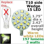 12 volt LED Bulbs (10-30vdc), T10 wedge side entry, WARM white, 197 lumens