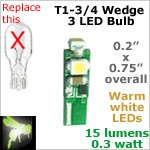 12 volt LED Bulbs (10-16 vdc), T1-3/4 Mini Wedge courtesy, WARM white, 15 lumens