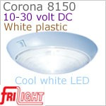 12 volt LED Ceiling Lights (10-30vdc) - Corona 8150, surface mount ceiling light with switch, WHITE plastic with 240 lumens COOL White LED Bulb