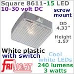 12 volt LED Utility Lights (10-30vdc) - Square 8611-15, with rocker Switch, WHITE plastic with 240 lumens COOL White LED Bulb