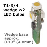 12 volt LED Bulbs Wedge T1-3/4 W2