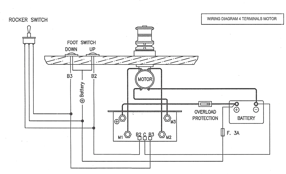 watertight 24 volt control box for 2 and 4 wire motors up ramsey winch wiring diagram ramsey winch parts diagram wiring