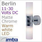12 volt LED Wall Light (11-30vdc) - Berlin, Built-in Dimmer, White Shade, Matt Chrome, warm white LED, IP20. Special order (approx 6 weeks)
