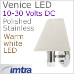 12 volt LED Wall Lamp (8-30vdc) - Venice LED Wall Lamp with Switch, Stainless Steel, warm white LED. IP20, Overall dimensions: 8.19 x 7.68 x 5.75 inches. Shade Sold Separately.