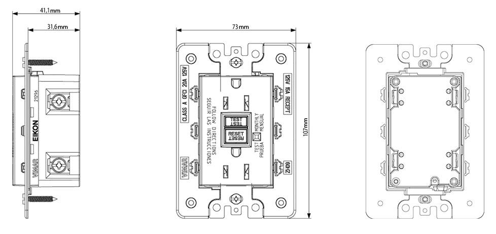 eikon 21296 3 module gfci duplex outlet