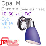 12 volt LED Reading Lights (10-30vdc) - Opal M 8960, with Round base and Rocker switch, CHROME plated stainless steel, with BLUE Glass Shade and 182 lumens COOL White LED Bulb