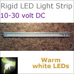 12 volt LED Lights Strip (10-30vdc) - Rigid Lt812, 12 inches long, with 420 lumens WARM white LEDs (72 smd), 5w