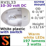 12 volt LED Ceiling Lights (10-30vdc) - RViL33 RV Pancake Interior LED Light with rocker Switch, with 197 lumens WARM White LED Bulb